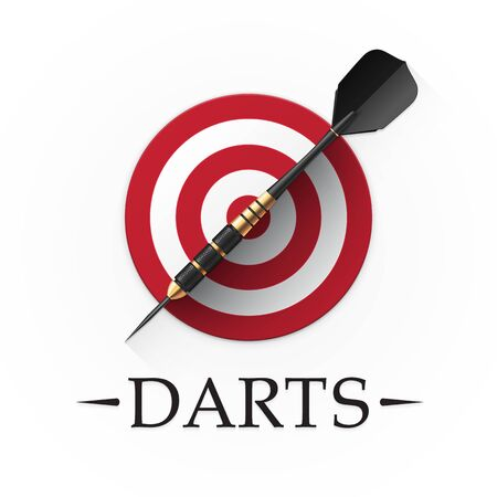 Darts game emblem. Vector illustration showing a detailed black dart with golden parts on a background of a simple red target Çizim