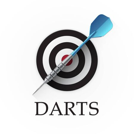 Darts game emblem. Vector illustration showing a detailed blue dart on a background of a simple target