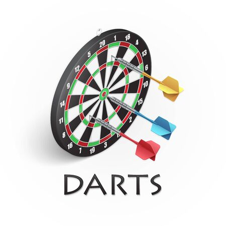 Darts game background. Vector illustration showing a target and colored darts in isometric Banque d'images - 132633196