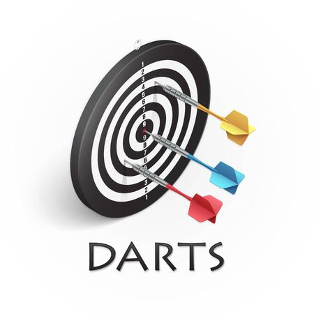 Darts game background. Vector illustration showing a target and colored darts in isometric