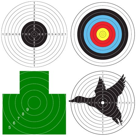 Set of targets for shooting. Vector illustration for print Çizim