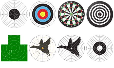 Set of targets for shooting. Vector illustration Çizim