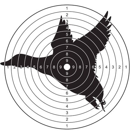 Target with a silhouette of a flying duck for shooting, plinking. Vector illustration for print
