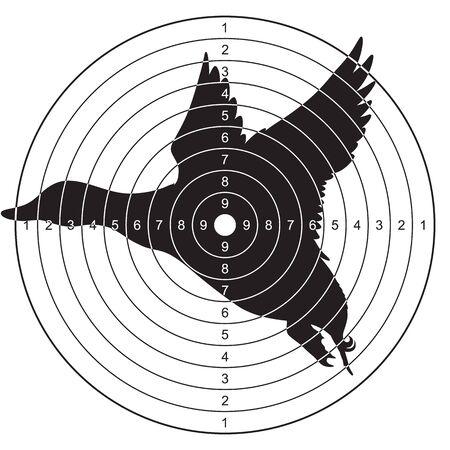 Ziel mit einer Silhouette einer fliegenden Ente zum Schießen, Plinken. Vektorillustration für den Druck