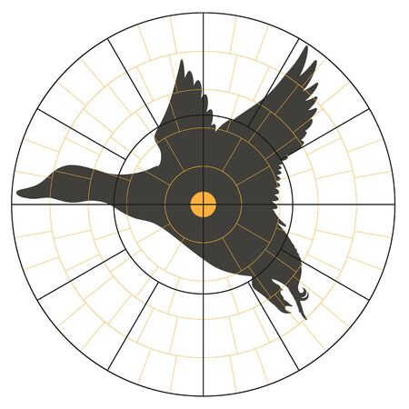 Test target with a silhouette of a flying duck for hunter. Vector illustration for print Banque d'images - 135028859