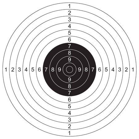 Deportes, tiro al blanco. Ilustración vectorial para imprimir