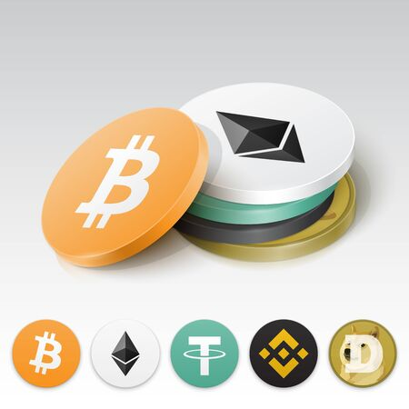 Stack of cryptocurrency tokens. Vector illustration