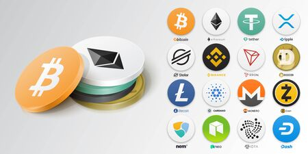 Set of top cryptocurrency tokens. Vector illustration