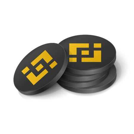 Binance coin cryptocurrency tokens. Vector illustration