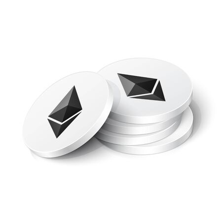 Ethereum cryptocurrency tokens. Vector illustration