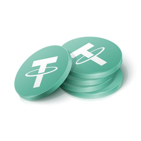 Tether cryptocurrency tokens. Vector illustration