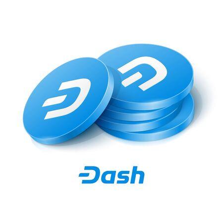 Dash cryptocurrency tokens. Vector illustration Çizim