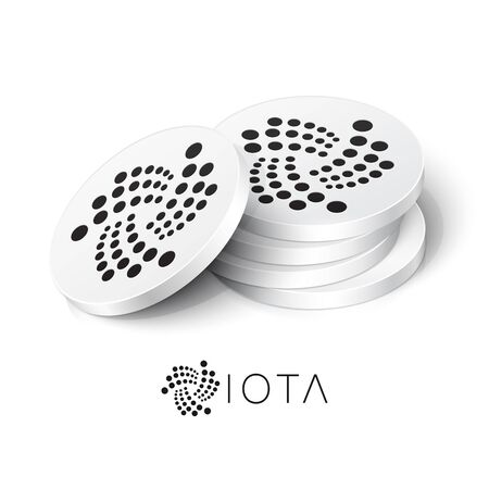 IOTA cryptocurrency tokens. Vector illustration