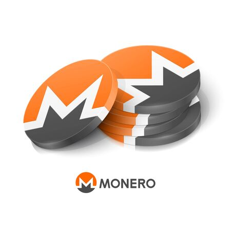 Monero cryptocurrency tokens. Vector illustration Çizim