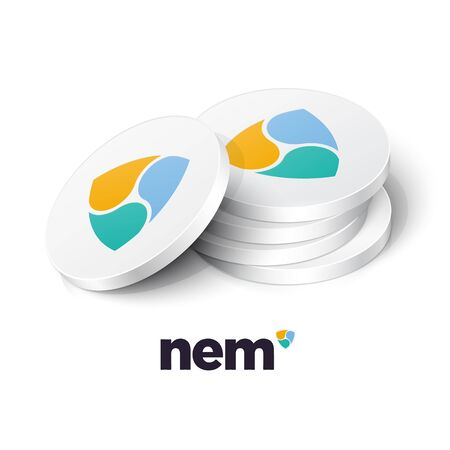 NEM cryptocurrency tokens. Vector illustration Banque d'images - 136606708