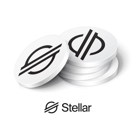 Stellar cryptocurrency tokens. Vector illustration Çizim