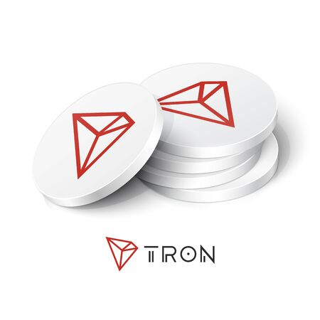 Tron cryptocurrency tokens. Vector illustration