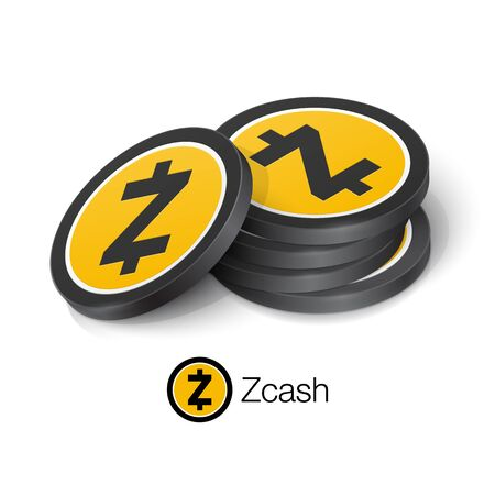 Zcash cryptocurrency tokens. Vector illustration