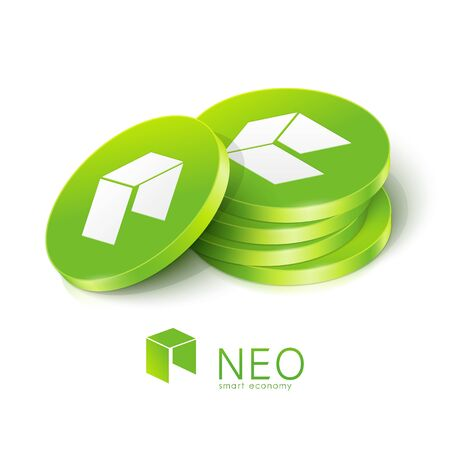 NEO cryptocurrency tokens. Vector illustration Banque d'images - 136606707