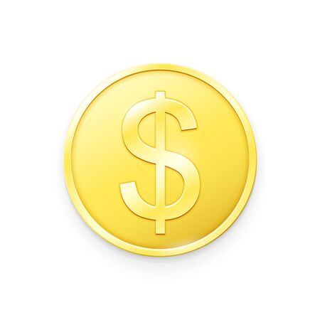 Gold coin with Dollar sign. Vector illustration showing the symbol of the currency of USA in the form of a gold coin