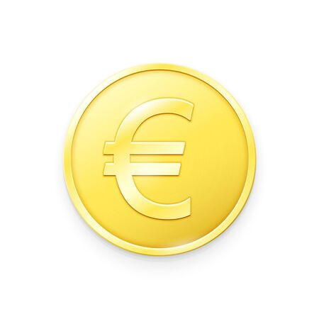 Gold coin with Euro sign. Vector illustration showing the symbol of the currency of European Union in the form of a gold coin