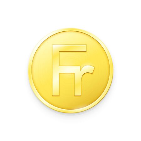 Gold coin with Franc sign. Vector illustration showing the symbol of the currency of Switzerland in the form of a gold coin Banque d'images - 138690363
