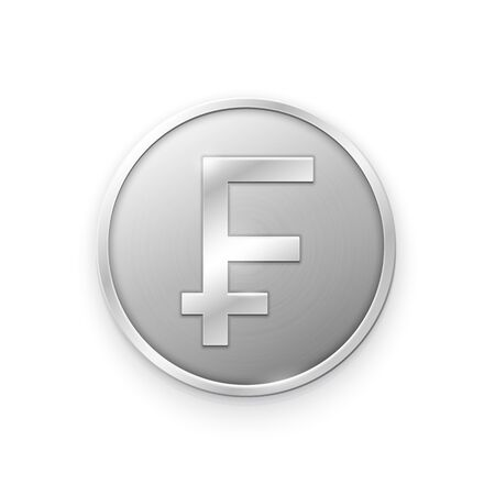 Silver coin with Franc sign. Vector illustration showing the symbol of the currency of France in the form of a silver coin