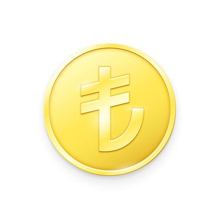 Gold coin with Turkish Lira sign. Vector illustration showing the symbol of the currency of Turkey in the form of a gold coin Çizim