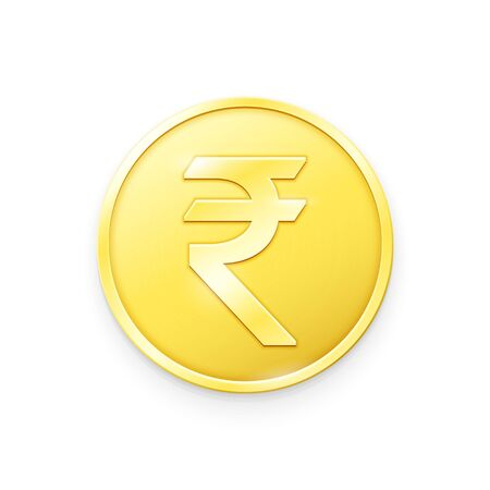 Gold coin with Rupee sign. Vector illustration showing the symbol of the currency of India in the form of a gold coin