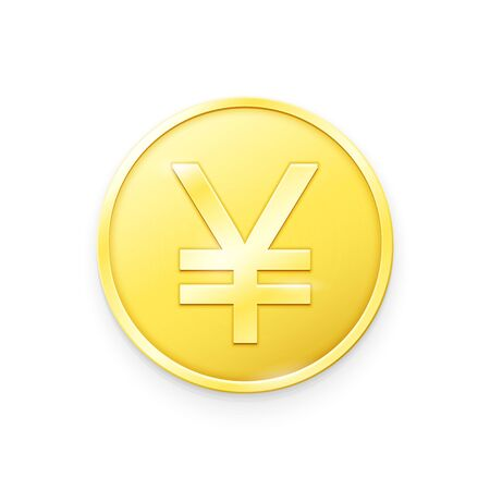 Gold coin with Yen sign.Vector illustration showing the symbol of the currency of Japan in the form of a gold coin
