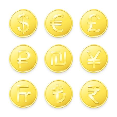 Gold coins with symbols of top world currencies. Vector illustration Çizim