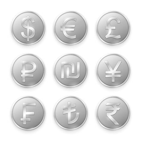 Silver coins with symbols of top world currencies. Vector illustration