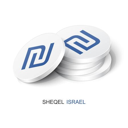 Stack of white tokens with Sheqel sign. Vector illustration Israel currency Banque d'images - 139245464