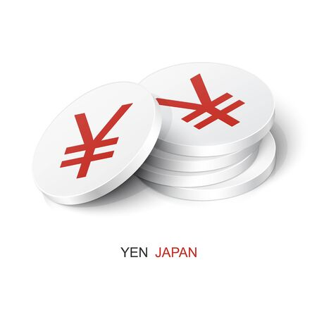 Stack of white tokens with Yen sign. Vector illustration Japan currency