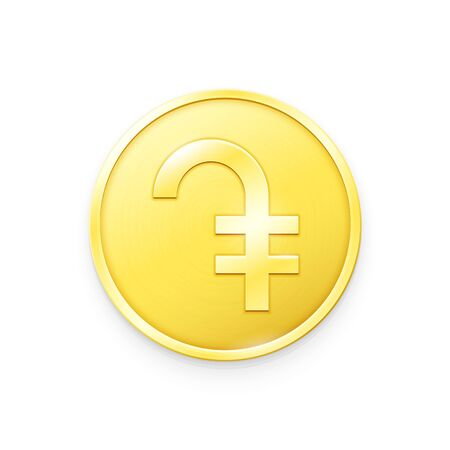 Gold coin with Dram sign. Vector illustration showing the symbol of the currency of Armenia in the form of a gold coin Banque d'images - 140862120