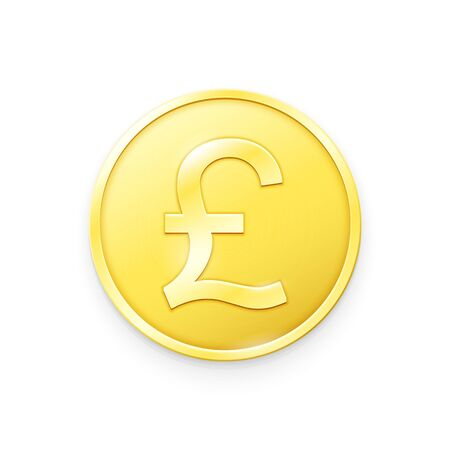 Gold coin with Pound Sterling sign. Vector illustration showing the symbol of the currency of United Kingdom in the form of a gold coin