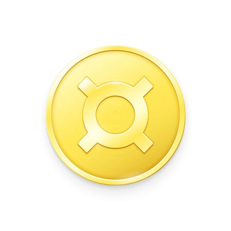 Gold coin with generic currency sign. Vector illustration Çizim