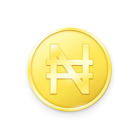 Gold coin with Naira sign. Vector illustration showing the symbol of the currency of Nigeria in the form of a gold coin
