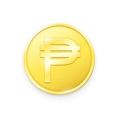Gold coin with Peso sign. Vector illustration showing the symbol of the currency of Philippines in the form of a gold coin Çizim