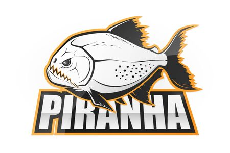 Piranha black and white emblem. Vector illustration Çizim
