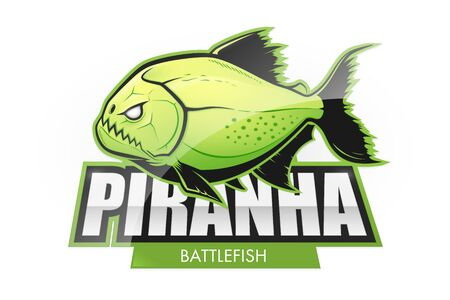 Acid green piranha logo.  Vector fish logo on a white background Çizim