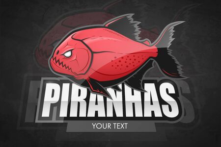 Modern professional piranha logo for a sport team. Vector red fish logo on a dark background