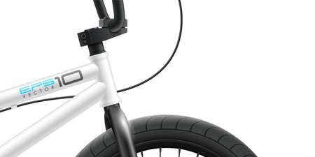 BMX bicycle - front area close-up. Vector illustration with space for design Banque d'images - 153341620