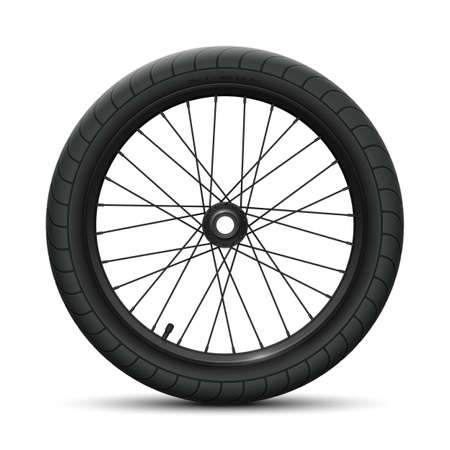 Black rear wheel bicycle BMX. Sports tire with universal road tread and marking, rim, spokes, valve and hub. Vector illustration of bike parts