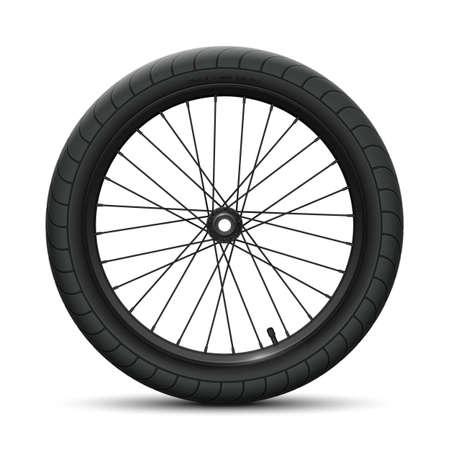 Black front wheel bicycle BMX. Sports tire with universal road tread and marking, rim, spokes, valve and hub. Vector illustration of bike parts Vektorgrafik