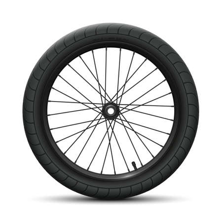 Black front wheel bicycle BMX. Sports tire with universal road tread and marking, rim, spokes, valve and hub. Vector illustration of bike parts
