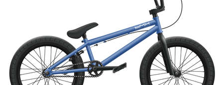 Blue BMX bicycle - right side close-up. Vector illustration of bike isolated on white background with detailed components, parts