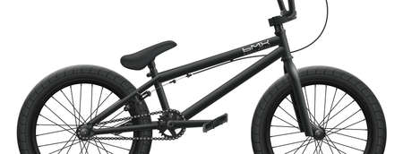 Black BMX bicycle mockup - right side close-up. Vector illustration of bike isolated on white background with detailed components, parts