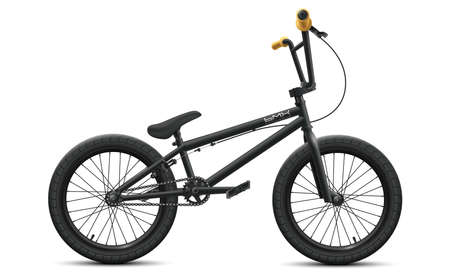 Black BMX bicycle mockup - right side view. Vector illustration of detailed bike isolated on white background