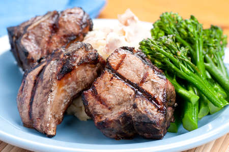 grilled lamb chops with creamy mashed potatoes